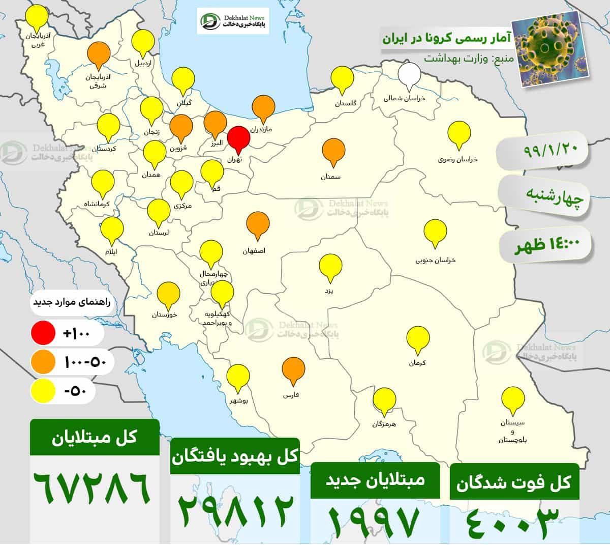 آمار رسمی کرونا در ایران .20 99.1