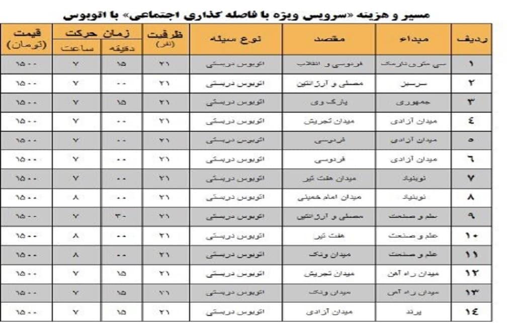لیست قیمت های رزرو صندلی اتوبوس دربستی