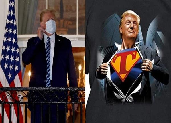 شیرین کاری ترامپ | خارج شدن ترامپ از بیمارستان با لباس سوپر من