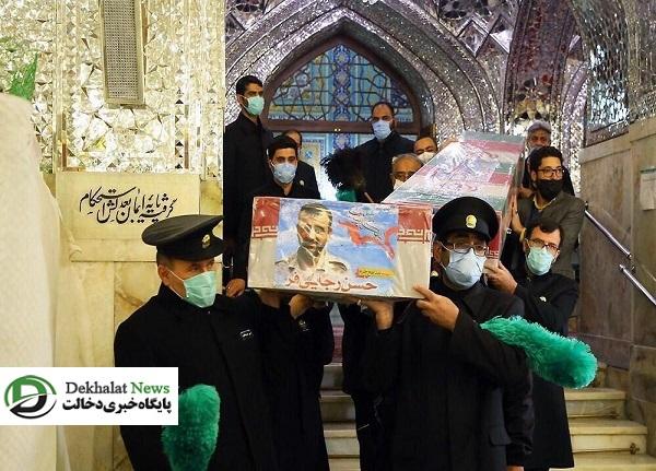 طواف پیکر شهدای مدافع حرم منطقه خان طومان در حرم مطهر رضوی