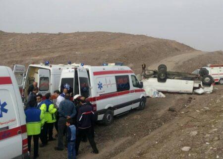 واژگونی مینی بوس در اتوبان تهران – قم ۱۸ مصدوم بر جای گذاشت