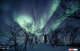 تصاویر شب تماشایی فنلاند با پدیده شفق قطبی