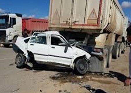 مرگ ۴ نفر در تصادف پراید و تریلی در محور راور – چترود استان کرمان