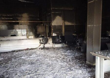 آتش سوزی در بانک ملت شعبه بم