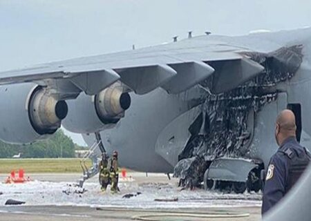 آتش سوزی هواپیما نیروی هوایی آمریکا