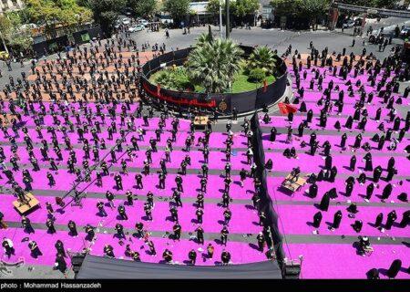 مراسم عزاداری عاشورای حسینی در میدان فلسطین تهران + عکس
